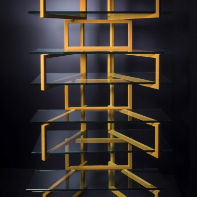 Bookcase in velvet and glass - on sale at Nilufar Gallery Milan
