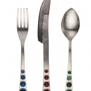 ALIEN - cutlery in STAINLESS STEEL with blue, green and red amber gems set