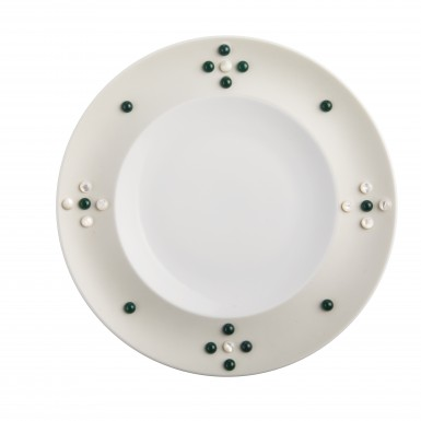 Satellite (porcelain dish with mother of pearl and green amber cabouchon)