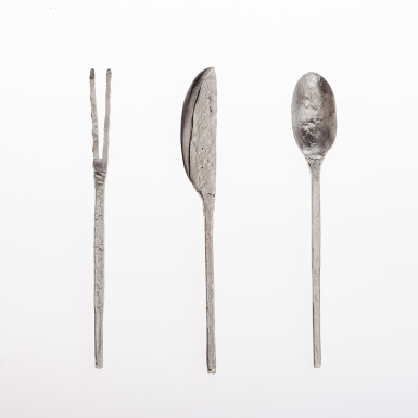 Silver hammered cutlery