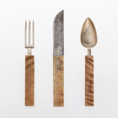 Customizable complete set of cutlery with goat horn haft