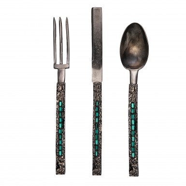 ATTILA SWAROVSKY - cutlery in satinless steel and brass. The handle has a black rhodium galvanic finishing where are placed 10 Swarovsky Emerald stone. NICKEL FREE