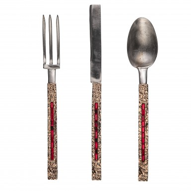 ATTILA SWAROVSKY - cutlery in satinless steel and brass. The handle has a black rhodium galvanic finishing where are placed 10 Swarovsky Siam stone. NICKEL FREE