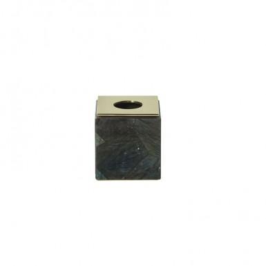 Labradorite and brass flower holder