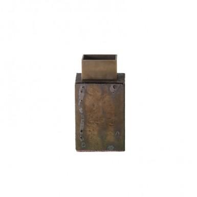 Enamelled stone and brass flower holder