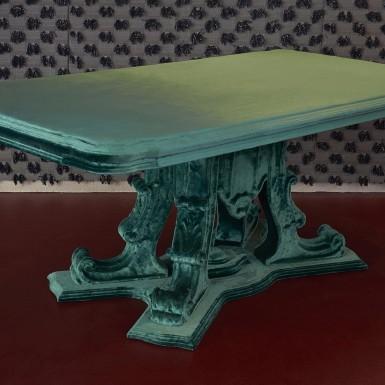Renaissance table covered in velvet - on sale at Nilufar Gallery