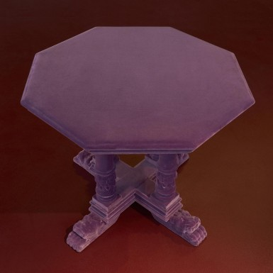 small old table covered in velvet - on sale at Nilufar Gallery